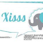 Plaquinhas divertidas Elefantinho Chevron Azul Turquesa 11