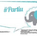 Plaquinhas divertidas Elefantinho Chevron Azul Turquesa 12