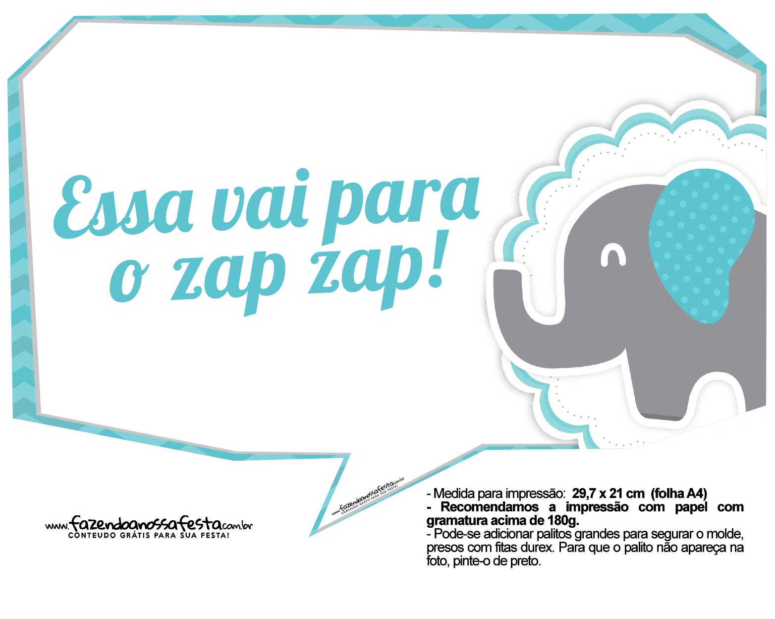 Plaquinhas divertidas Elefantinho Chevron Azul Turquesa 13