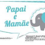 Plaquinhas divertidas Elefantinho Chevron Azul Turquesa 15