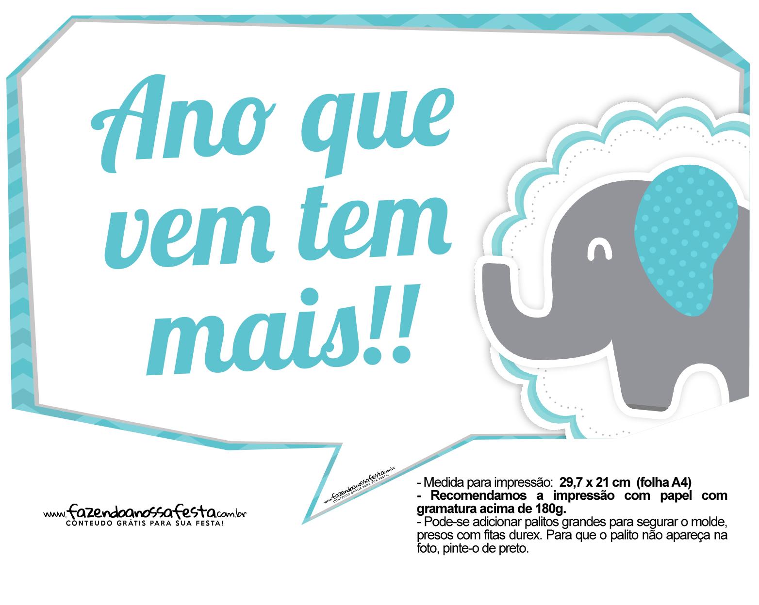 Plaquinhas divertidas Elefantinho Chevron Azul Turquesa 16