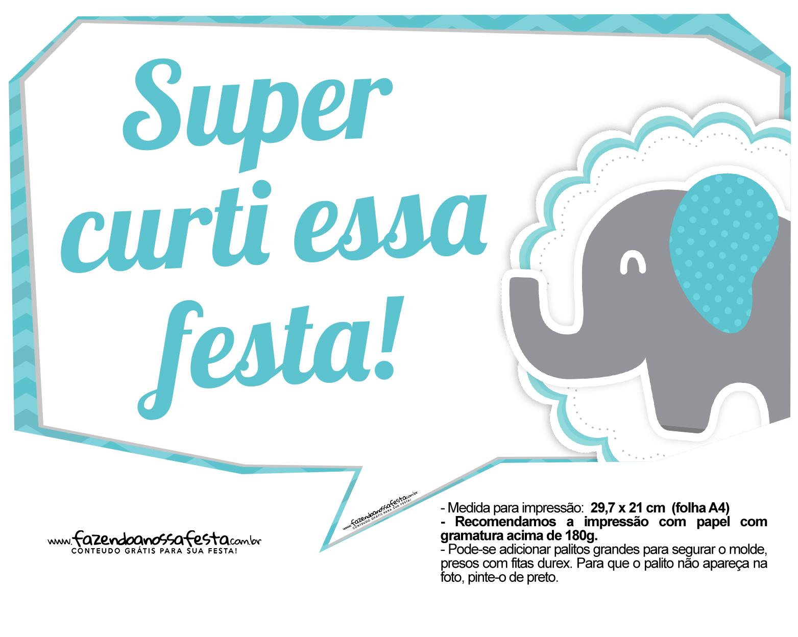 Plaquinhas divertidas Elefantinho Chevron Azul Turquesa 18