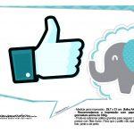 Plaquinhas divertidas Elefantinho Chevron Azul Turquesa 19