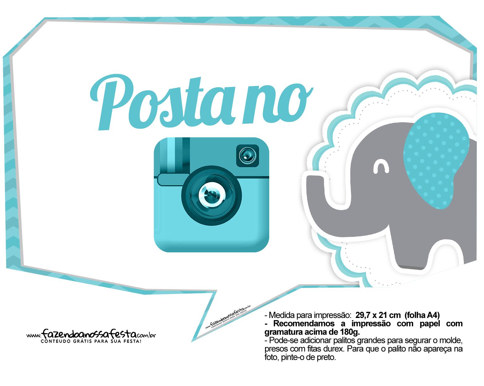 Plaquinhas divertidas Elefantinho Chevron Azul Turquesa 20