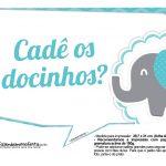Plaquinhas divertidas Elefantinho Chevron Azul Turquesa 21