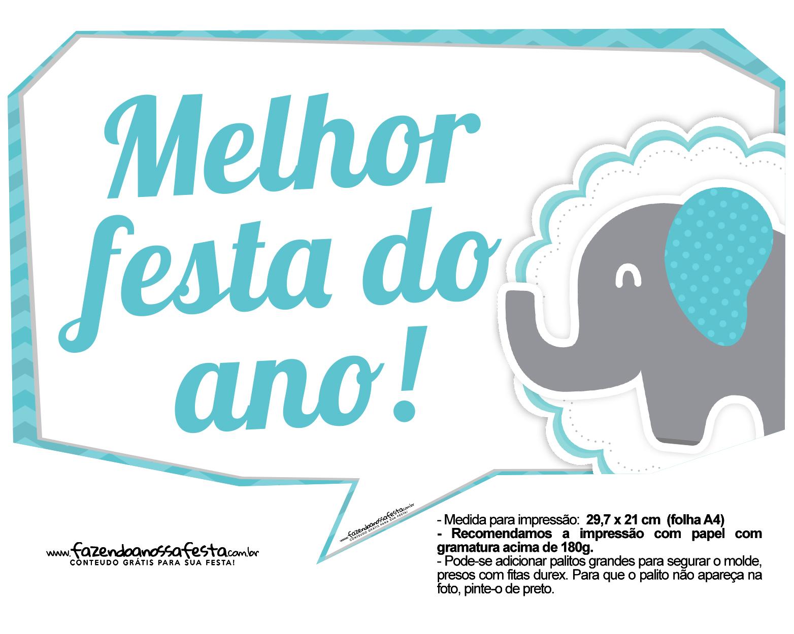 Plaquinhas divertidas Elefantinho Chevron Azul Turquesa 22