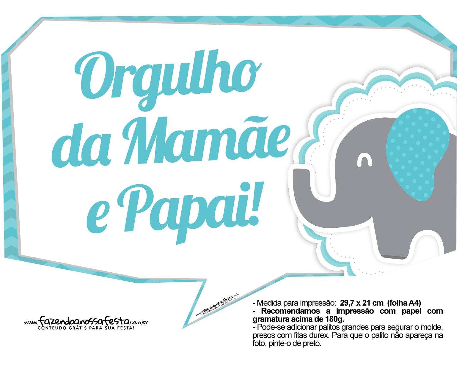 Plaquinhas divertidas Elefantinho Chevron Azul Turquesa 24