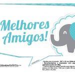 Plaquinhas divertidas Elefantinho Chevron Azul Turquesa 27