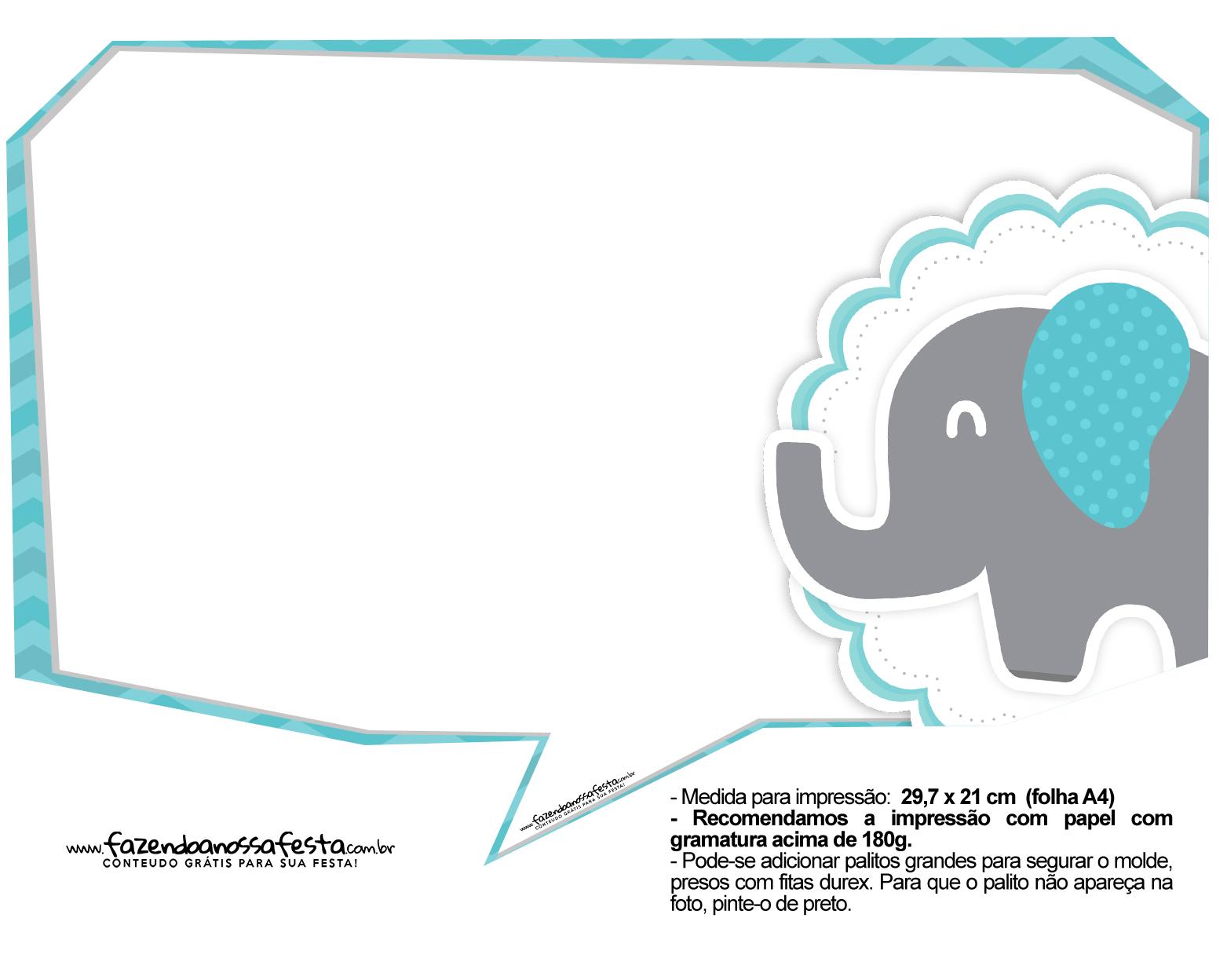 Plaquinhas divertidas Elefantinho Chevron Azul Turquesa 29