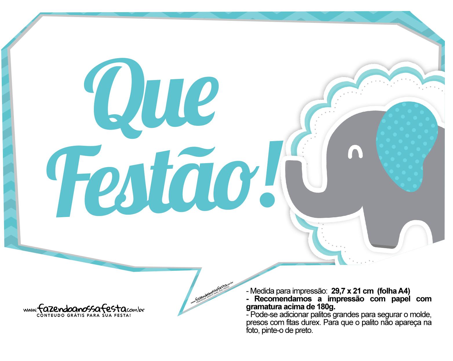 Plaquinhas divertidas Elefantinho Chevron Azul Turquesa 3