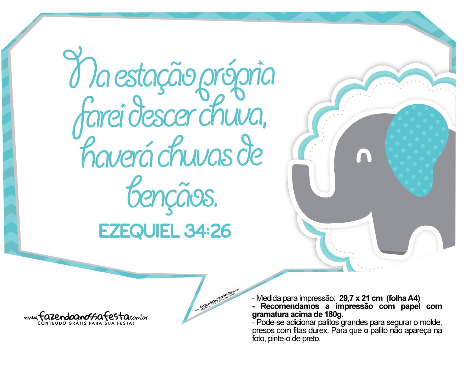 Plaquinhas divertidas Elefantinho Chevron Azul Turquesa 32