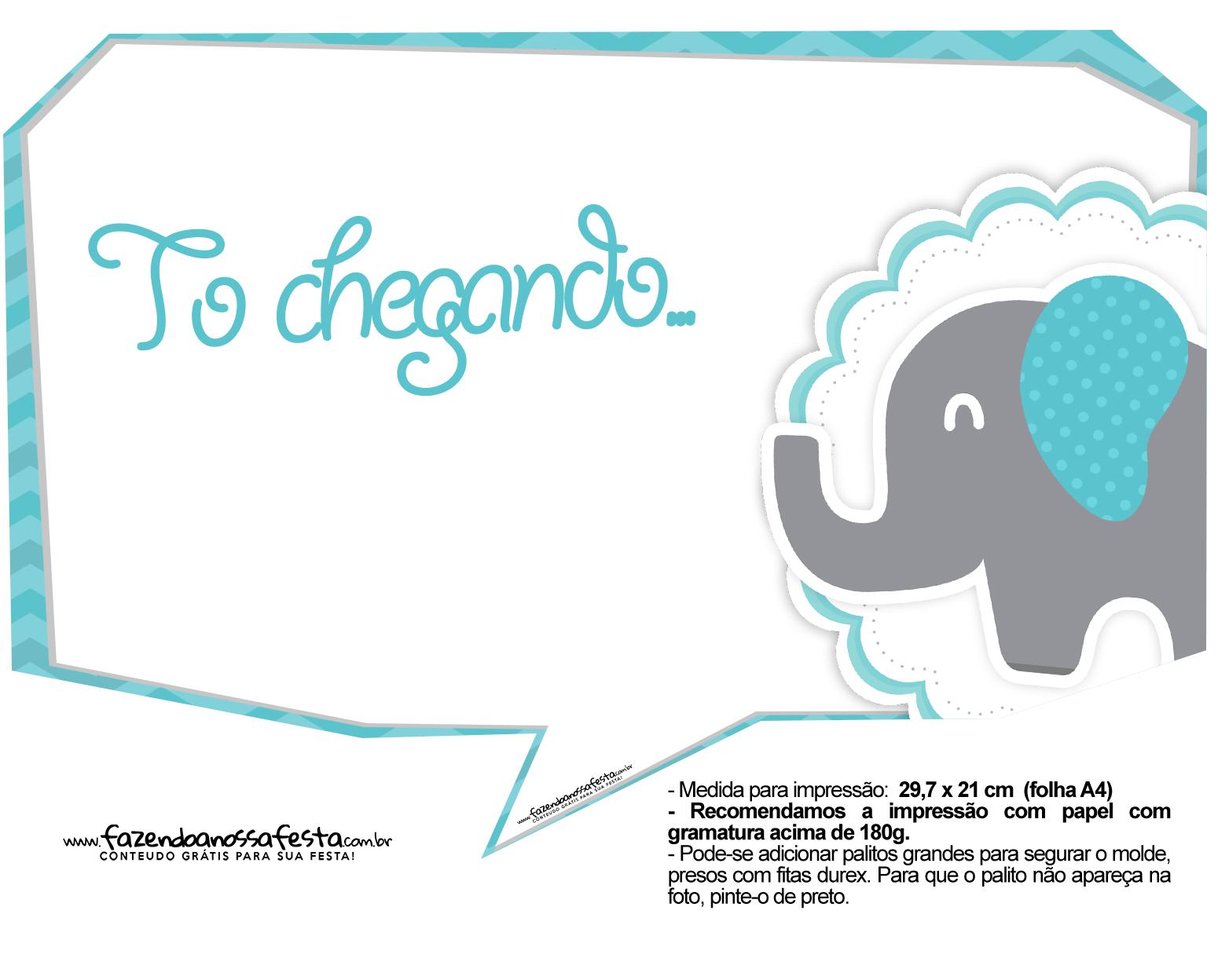 Plaquinhas divertidas Elefantinho Chevron Azul Turquesa 33