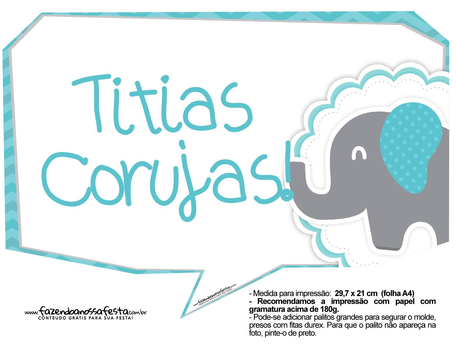 Plaquinhas divertidas Elefantinho Chevron Azul Turquesa 34