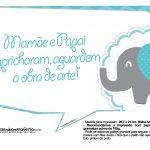 Plaquinhas divertidas Elefantinho Chevron Azul Turquesa 35