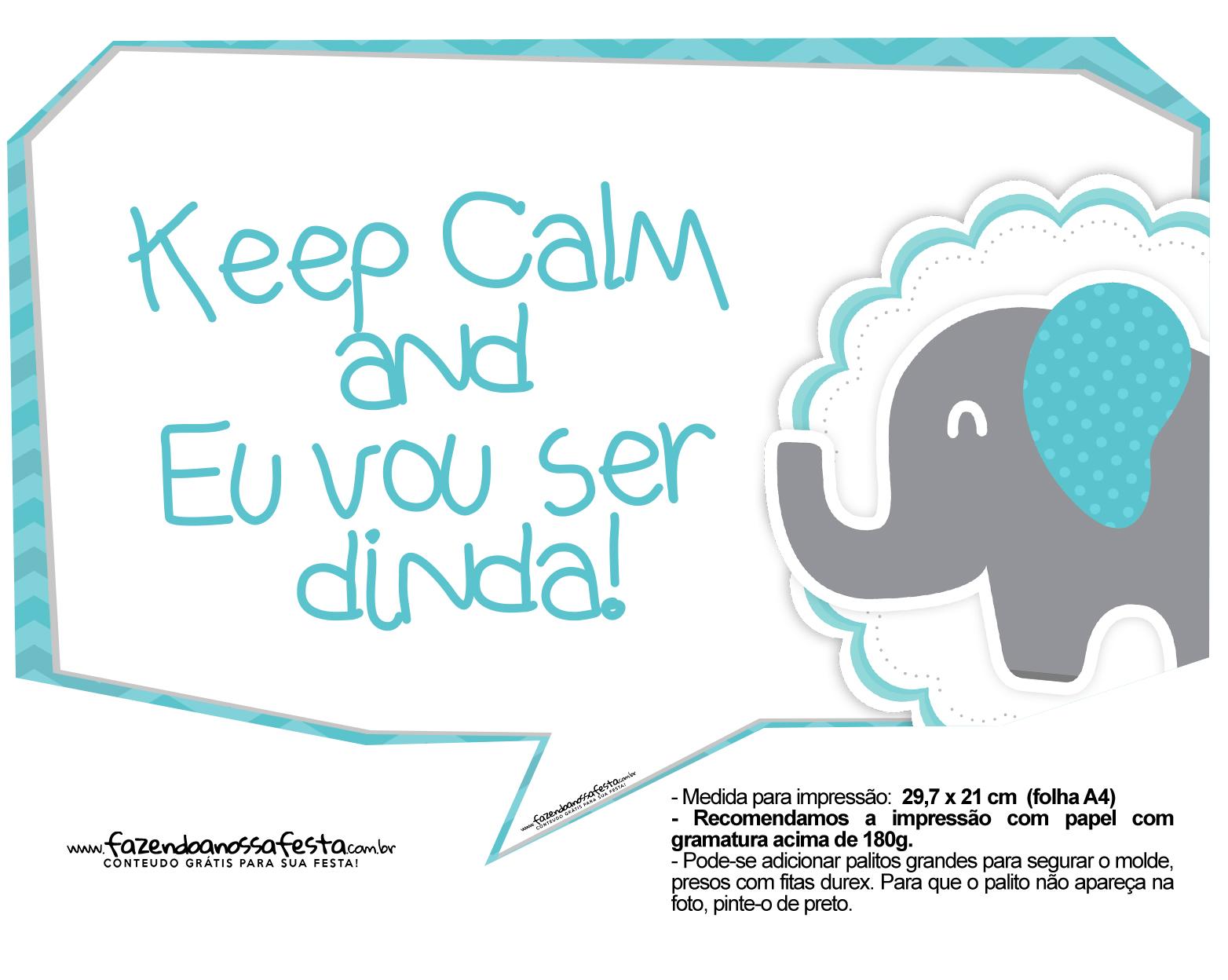 Plaquinhas divertidas Elefantinho Chevron Azul Turquesa 36