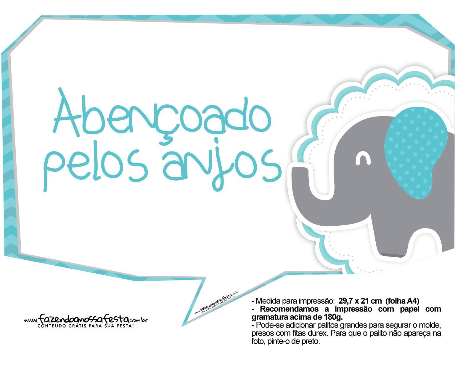 Plaquinhas divertidas Elefantinho Chevron Azul Turquesa 38