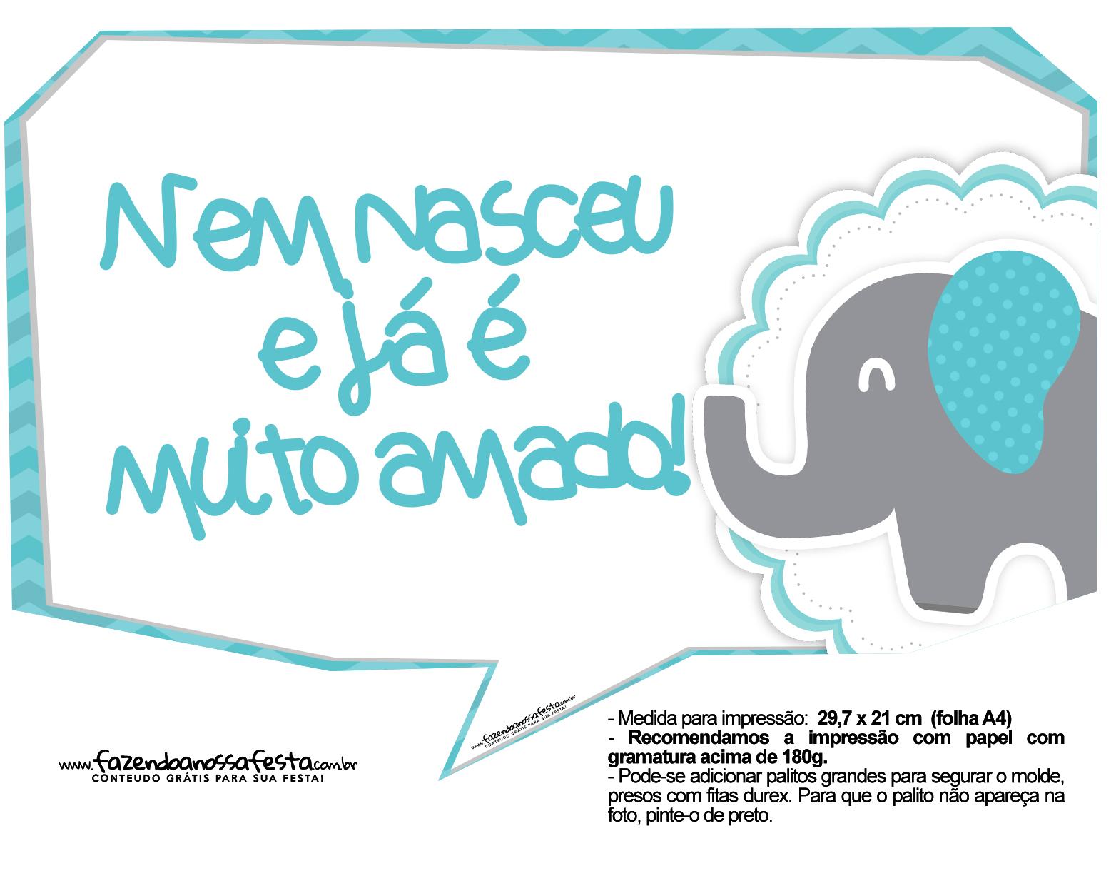 Plaquinhas divertidas Elefantinho Chevron Azul Turquesa 39