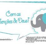 Plaquinhas divertidas Elefantinho Chevron Azul Turquesa 40