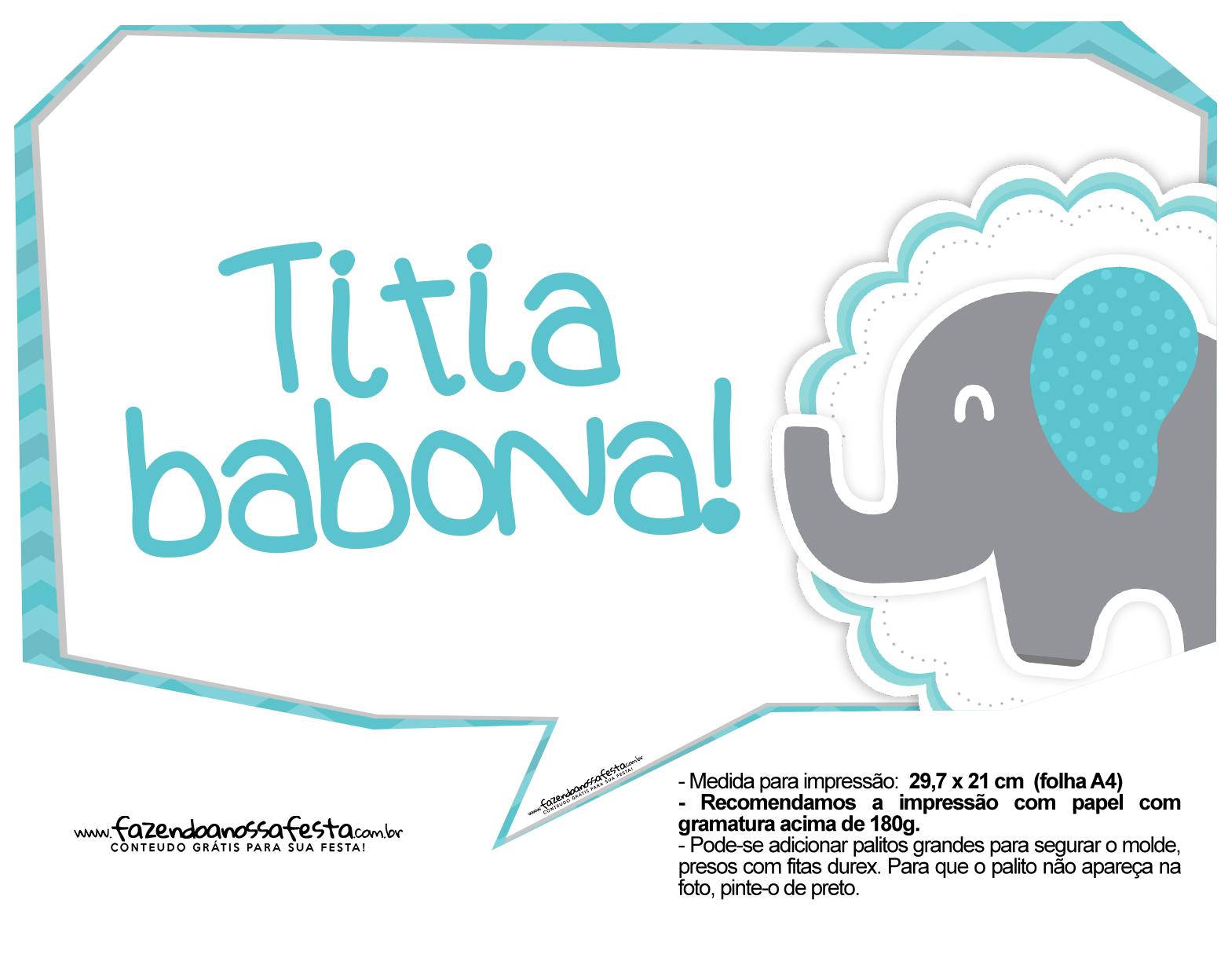 Plaquinhas divertidas Elefantinho Chevron Azul Turquesa 41
