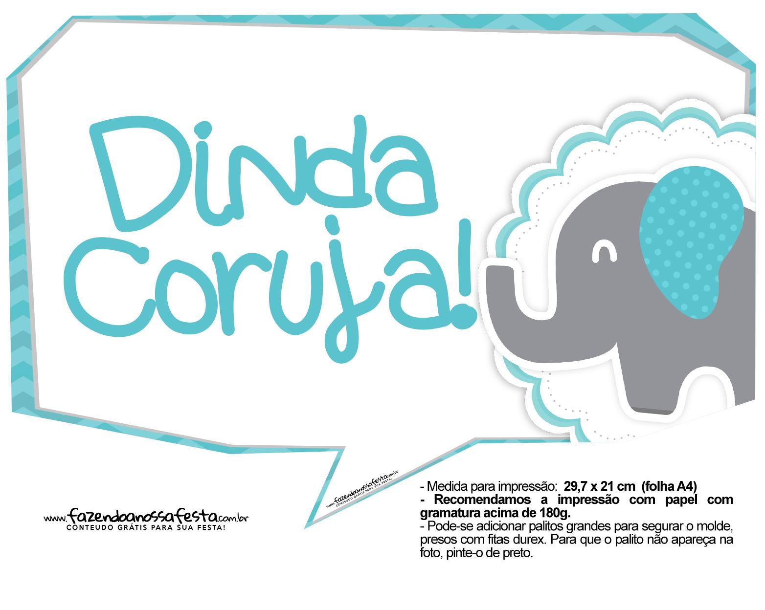 Plaquinhas divertidas Elefantinho Chevron Azul Turquesa 43