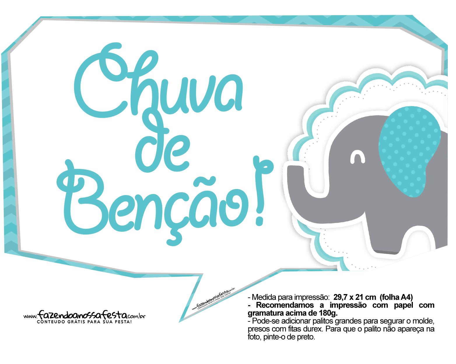 Plaquinhas divertidas Elefantinho Chevron Azul Turquesa 55