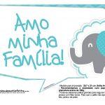 Plaquinhas divertidas Elefantinho Chevron Azul Turquesa 56