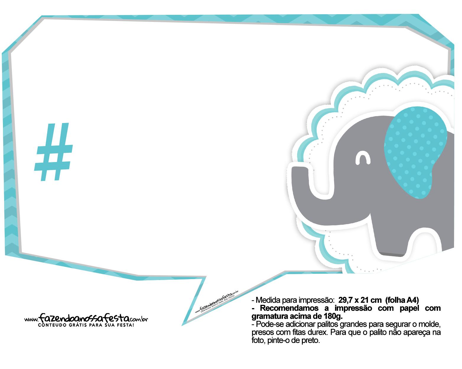 Plaquinhas divertidas Elefantinho Chevron Azul Turquesa 6