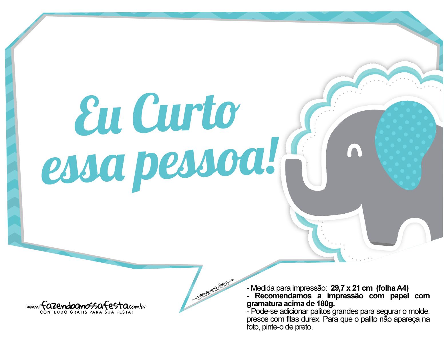 Plaquinhas divertidas Elefantinho Chevron Azul Turquesa 8