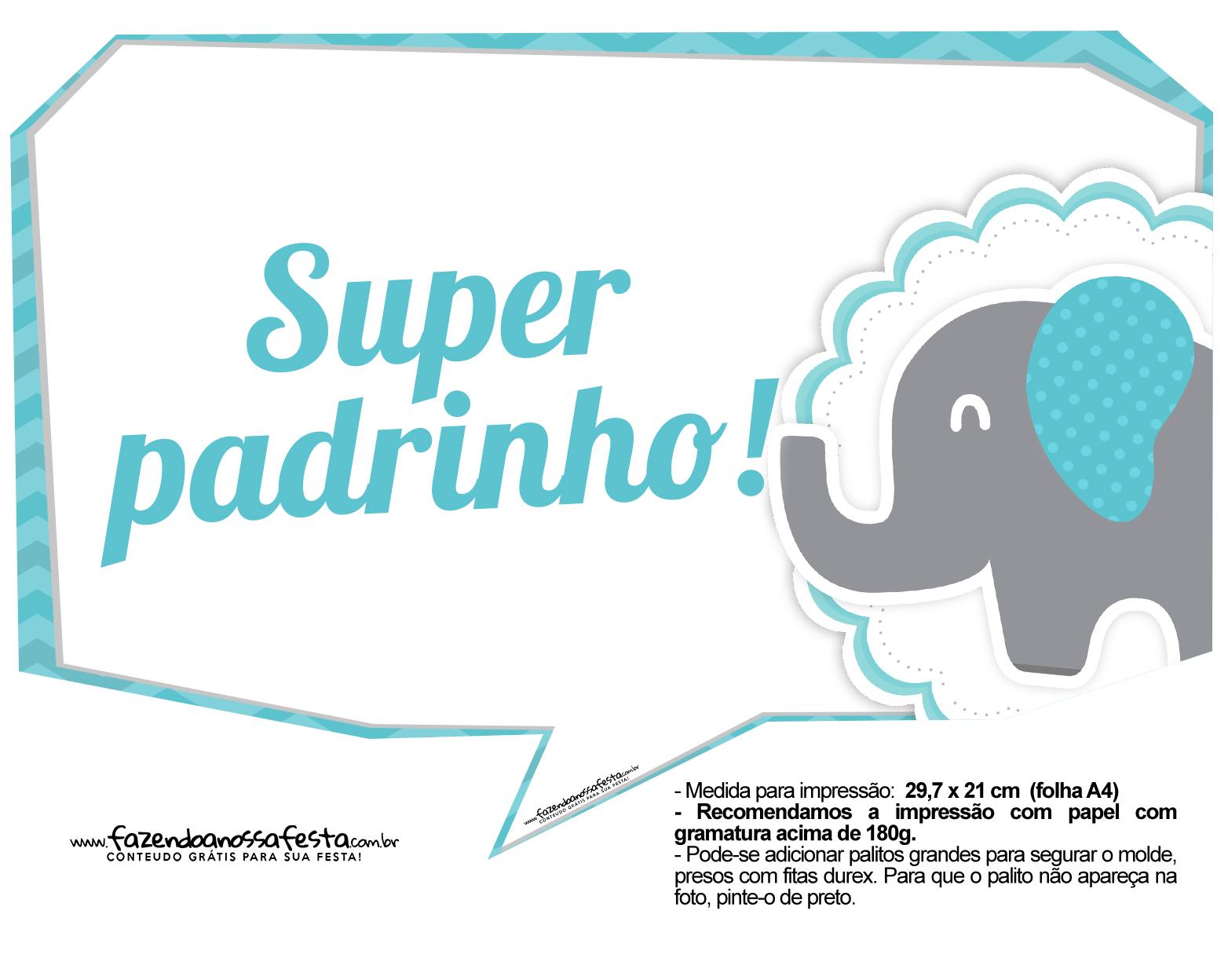 Plaquinhas divertidas Elefantinho Chevron Azul Turquesa 9