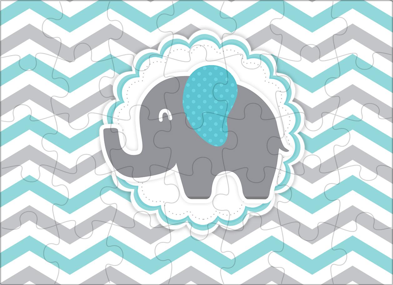 Quebra cabeça Elefantinho Chevron Cinza e Azul Turquesa