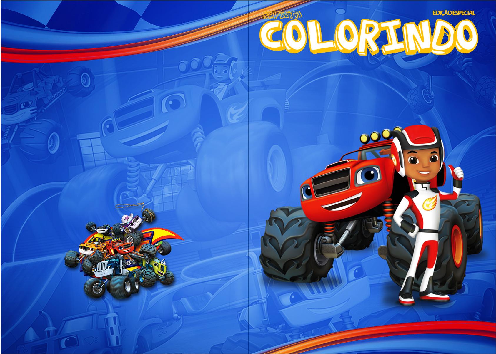 Revista Colorindo Blaze and the Monster Machines Kit Festa