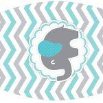 Rótulo Esmalte Elefantinho Chevron Cinza e Azul Turquesa