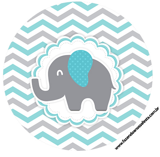 Rótulo Latinhas, Toppers e tubete Elefantinho Chevron Cinza e Azul Turquesa
