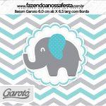 Rótulo Mini Baton Garoto Elefantinho Chevron Cinza e Azul Turquesa
