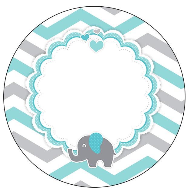 Rótulo Personalizado para latinha e toppers Elefantinho Chevron Cinza e Azul Turquesa