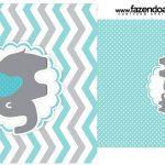 Rótulo Saquinho de Cha Elefantinho Chevron Cinza e Azul Turquesa