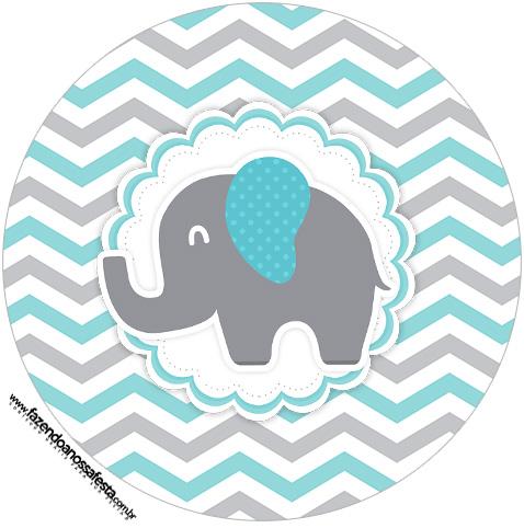 Rótulo Tubete 2 Elefantinho Chevron Cinza e Azul Turquesa