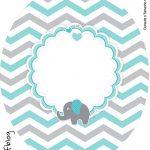 Rótulo Tubete Oval Elefantinho Chevron Cinza e Azul Turquesa Kit Festa