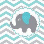 Rótulo Tubetes Elefantinho Chevron Cinza e Azul Turquesa