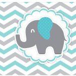 Rótulo Vinho e Espumante Elefantinho Chevron Cinza e Azul Turquesa