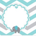 Rótulo para Squezze Elefantinho Chevron Cinza e Azul Turquesa Kit Festa