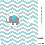 Sacolinha Surpresa 2 2 Elefantinho Chevron Cinza e Azul Turquesa Kit Festa