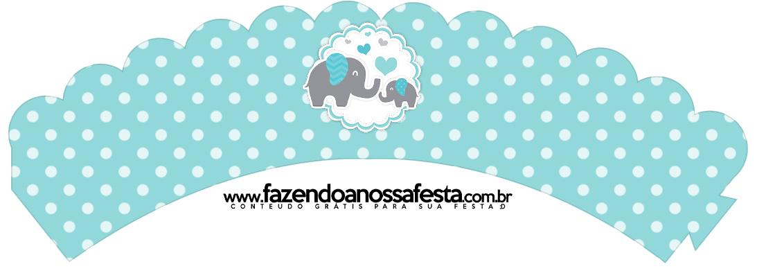 Saias Wrappers para Cupcakes 2 Elefantinho Chevron Cinza e Azul Turquesa