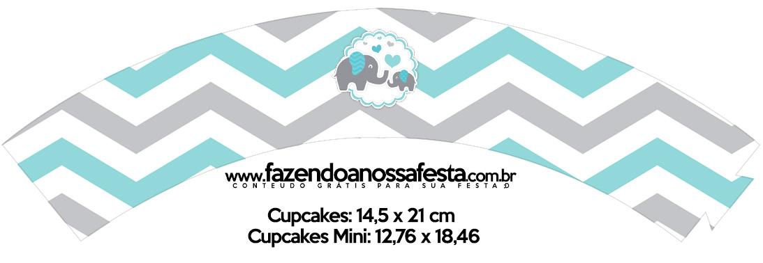 Saias Wrappers para Cupcakes Elefantinho Chevron Cinza e Azul Turquesa