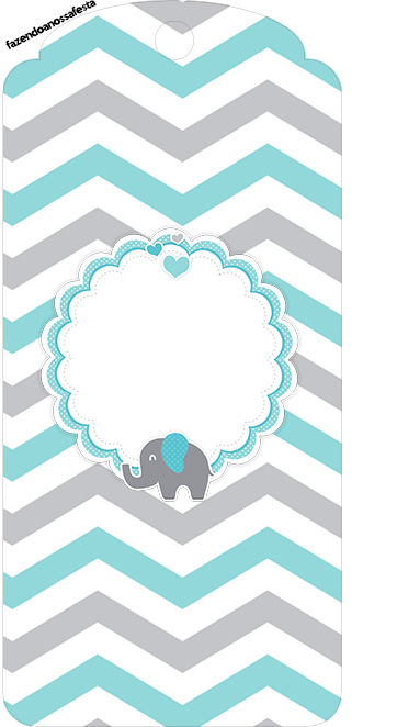 Tag Agradecimento Elefantinho Chevron Cinza e Azul Turquesa