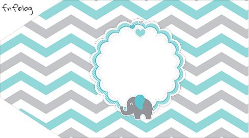 Tag Agradecimento Etiqueta Elefantinho Chevron Cinza e Azul Turquesa Kit Festa