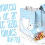 Balão de Ar Quente Azul Kit Festa Grátis para Imprimir