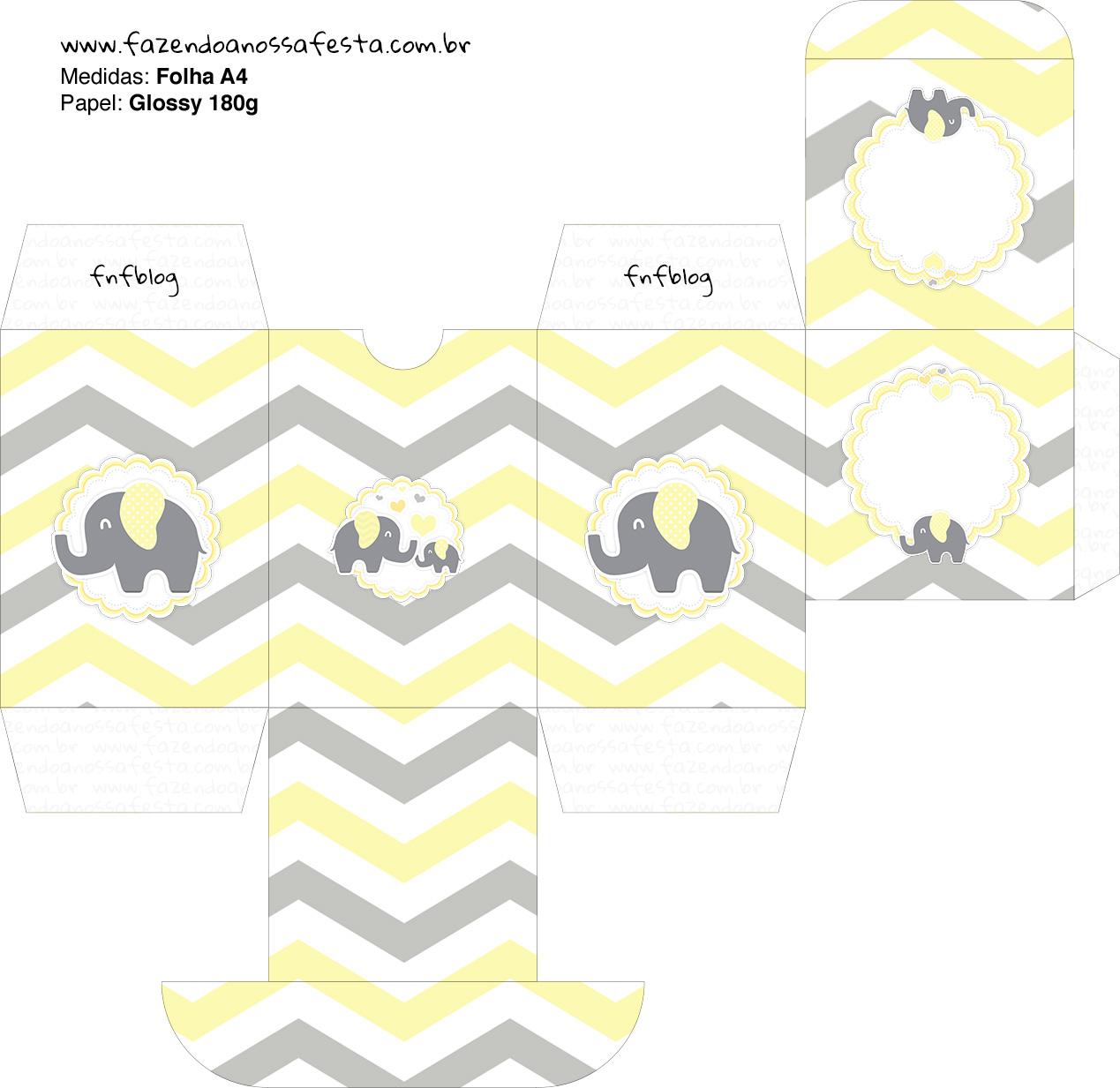 Baleiro Elefantinho Chevron Amarelo e Cinza