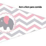 Bandeirinha Sanduiche 1 Elefantinho Rosa e Cinza Chevron