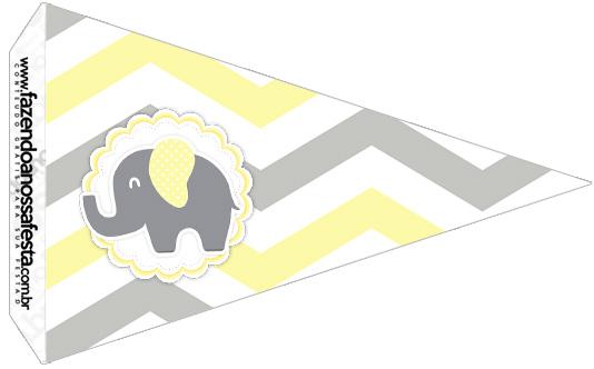 Bandeirinha Sanduiche 3 Elefantinho Chevron Amarelo e Cinza